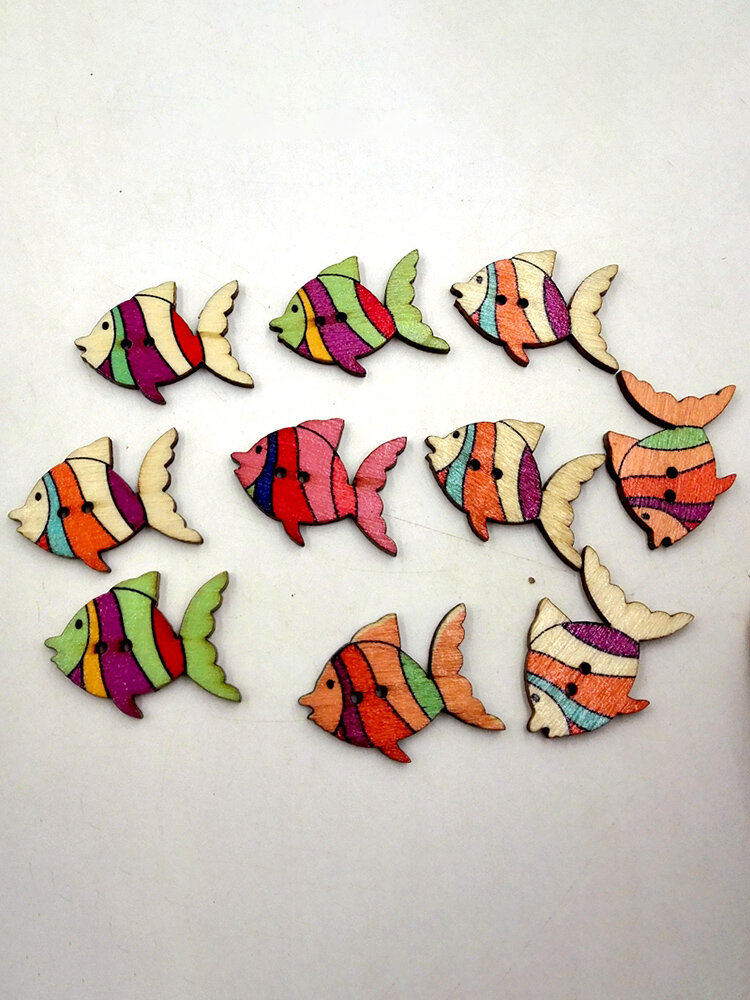 50 Pcs Fish Shaped Wooden Sewing Buttons Decoration DIY Materials