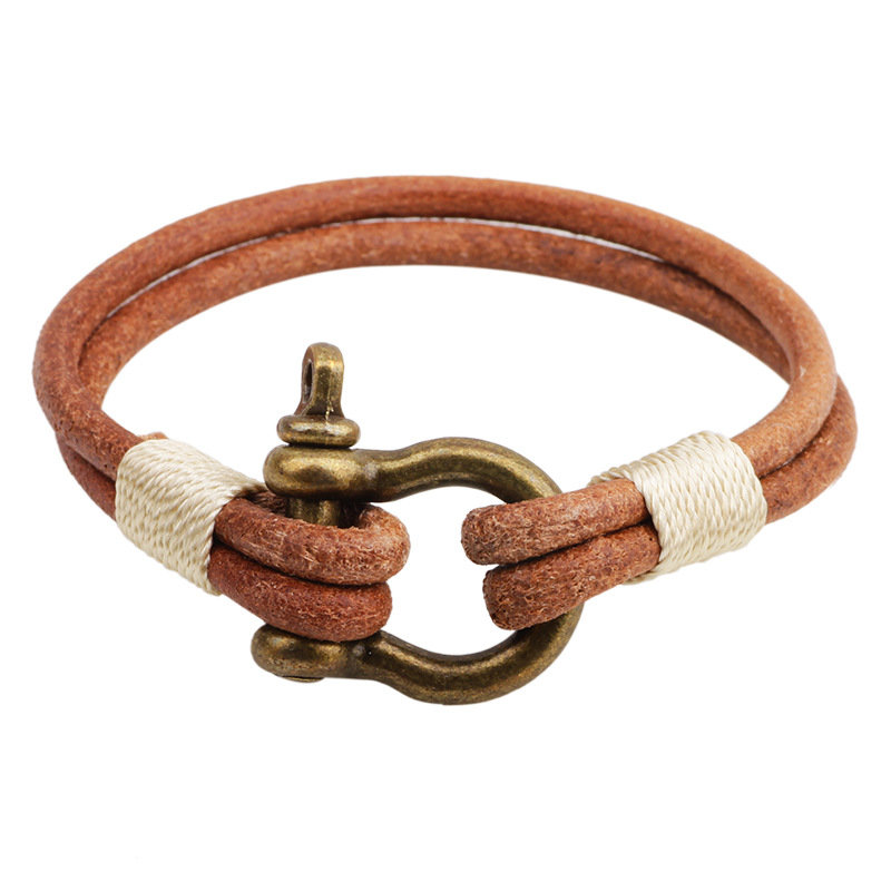 Simple Men Bracelet Leather Alloy Lock Bracelet Gift