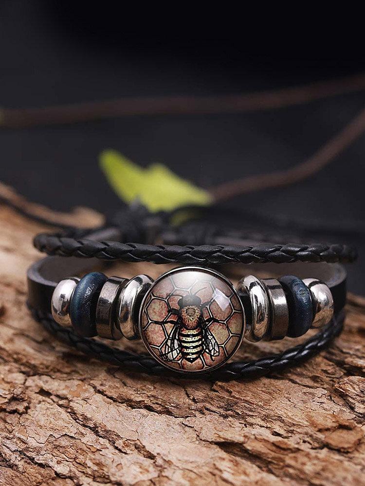 Vintage Hand-Woven Women Bracelet Multi-Layer Bee Printing Glass Bracelet