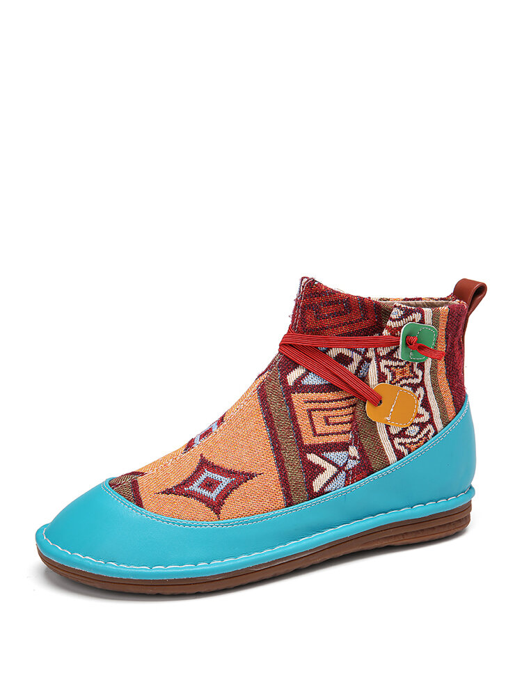 SOCOFY Cloth Pattern Splicing Solid Color Elastic band Slip On Soft Flat Boots