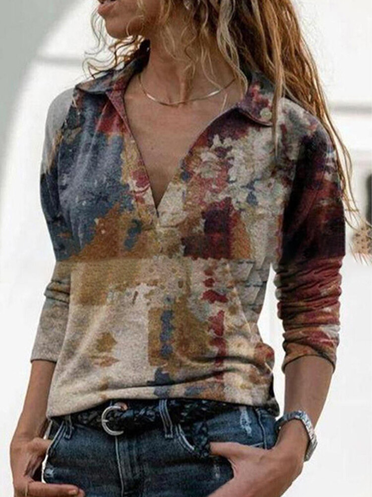 Vintage Printed Long Sleeve Lapel Collar Blouse For Women
