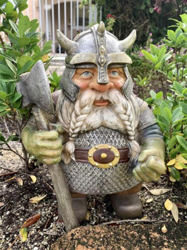 Pirate Victor Norwegian Gnome Dwarf Statue Resin Miniature Figurines Sculptures Outdoor Garden Decor Ornament