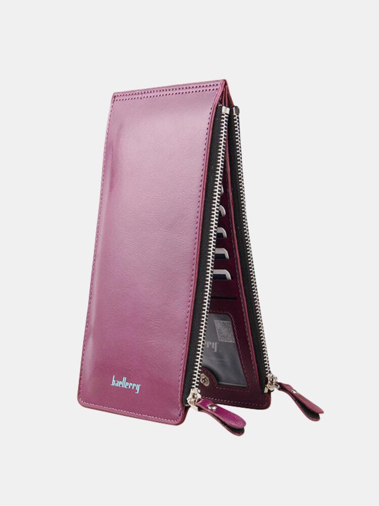 ユニバーサル超薄型PUレザーバーティックロングウォレット財布15カードスロットマルチスロット電話バッグ