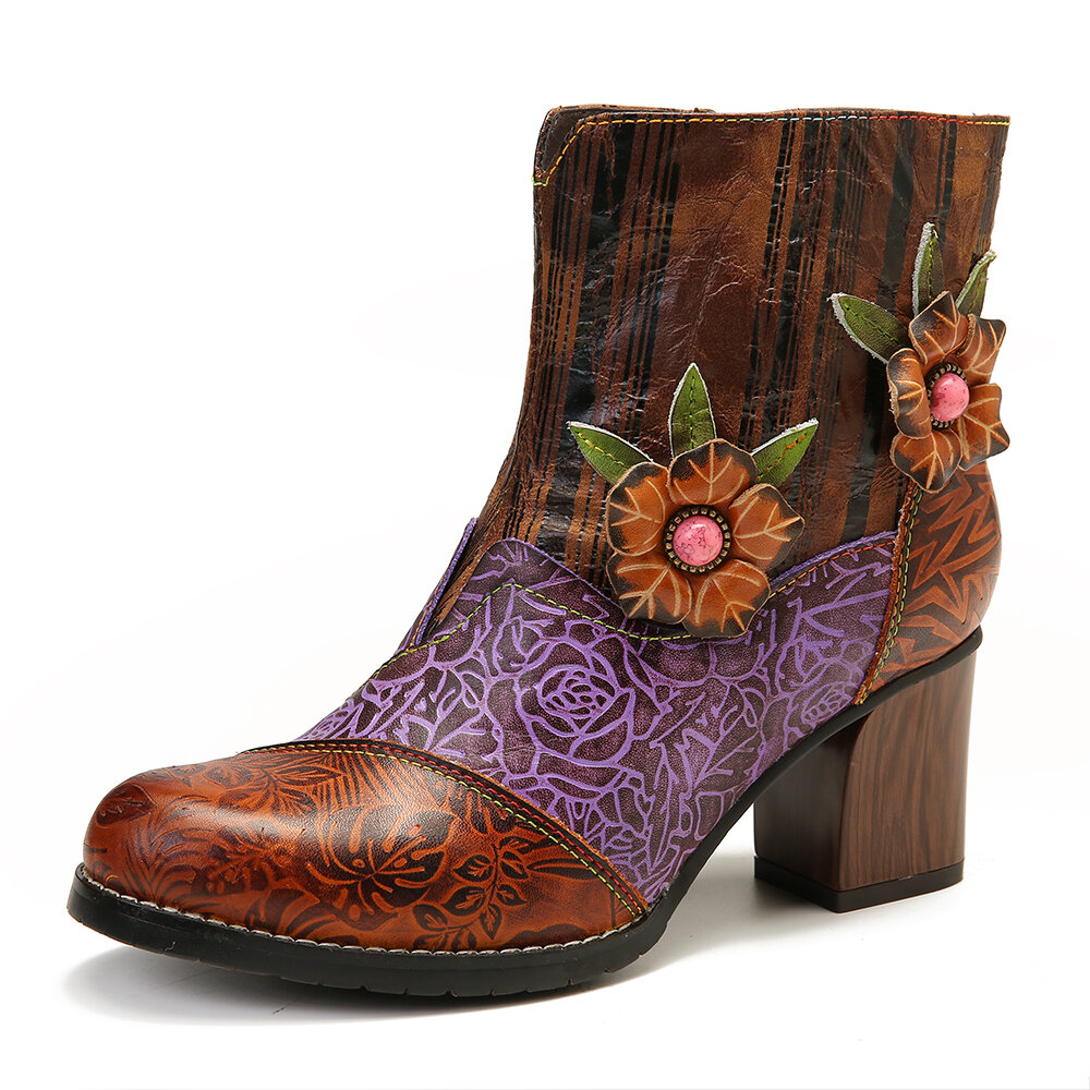 SOCOFY Retro Embossed Genuine Leather Floral Stitching High Heel Short Boots