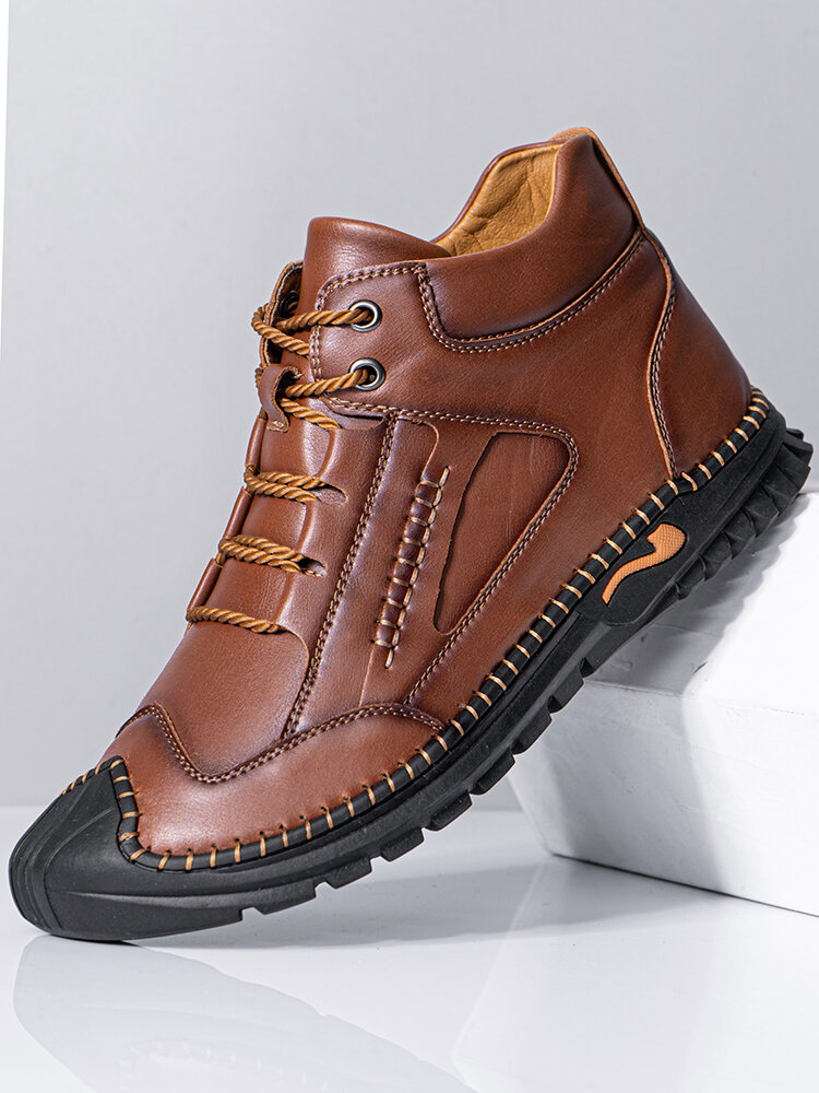 Men Soft Hand Stitching Lace-up Short-top Casual Business Ankle Boots