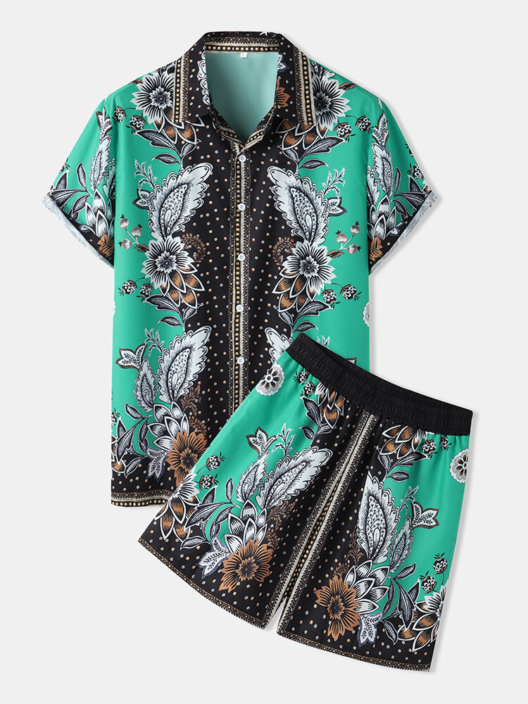 Mens Floral Pattern Baroque Lapel Short Sleeve Two Piece Outfits With Pocket