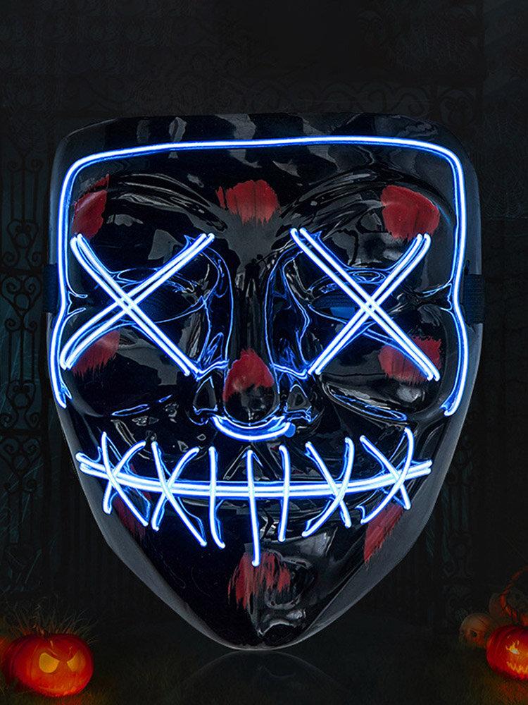 Halloween Horror Cold Light Mask Prom Party LED Mask Party Horror V Word Black Blood Mask