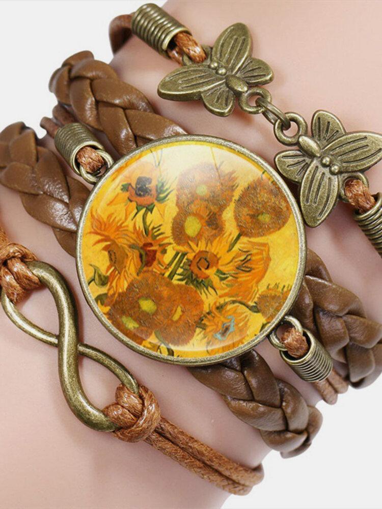 Vintage Oil Painting Print Pattern Butterfly Geometric Shape Hand-braided Glass PU Alloy Multi-layer Bracelet