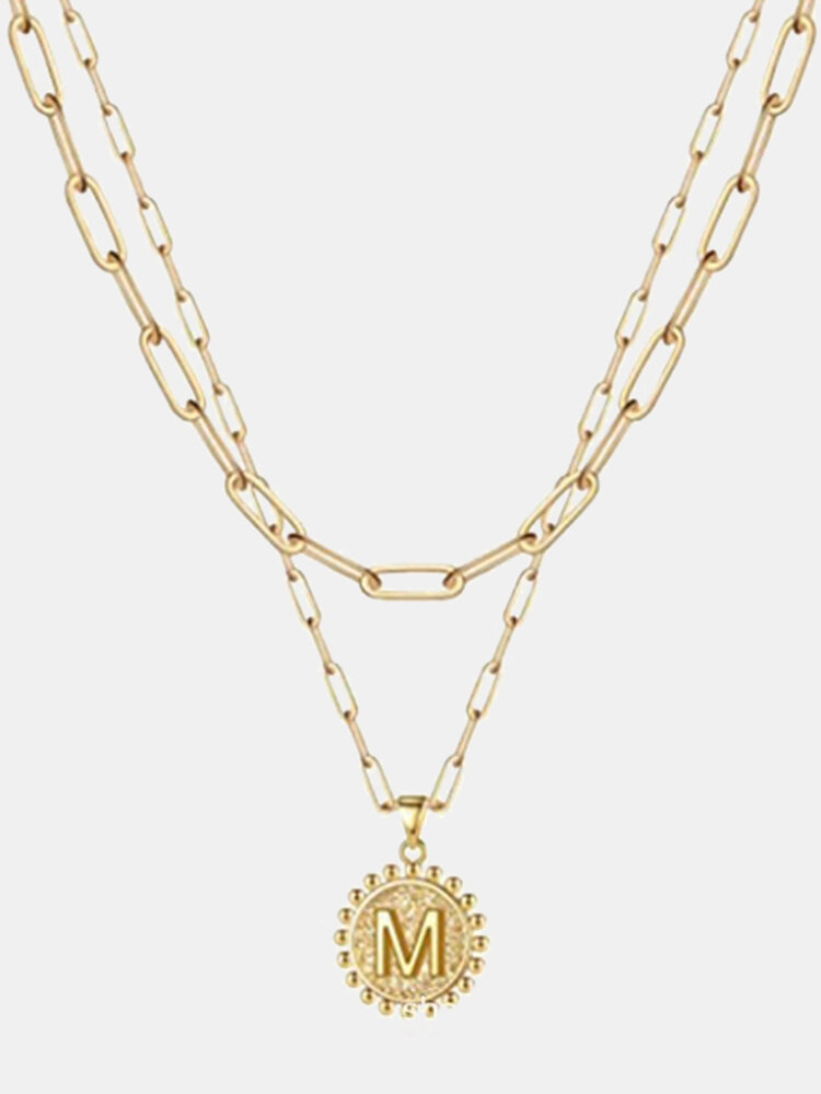 Luxury Layering Paperclip Chain Women Necklace 26 Initials Coin Pendant 14K Gold Plated Necklace Clavicle Chain Jewelry For Women