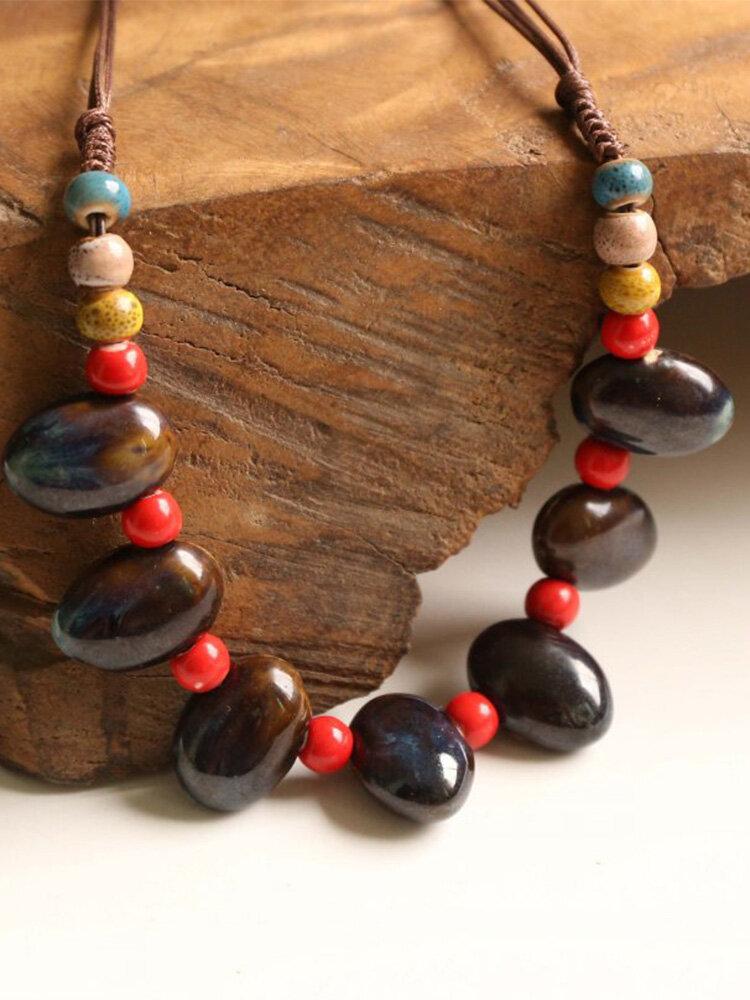 Vintage Ethnic Drop Round Shaped Beaded Braided Ceramics Velvet Rope Long Sweater Necklace