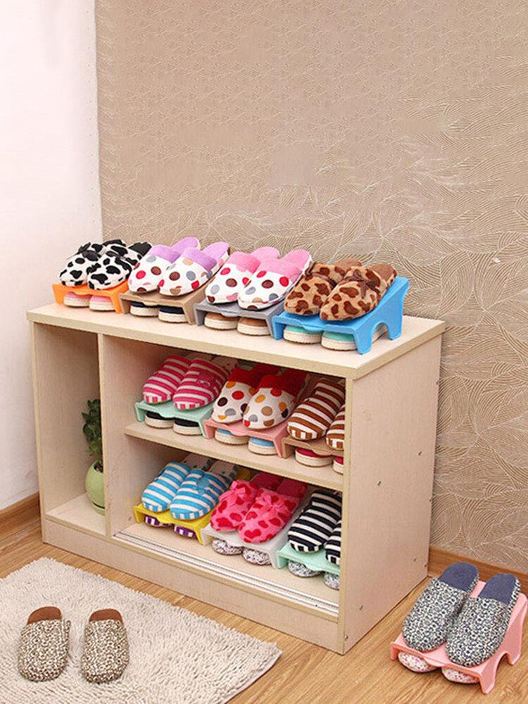 Soporte de plástico para zapatero doble Organizador Estante de almacenamiento de zapatos para camilla de ahorro de espacio