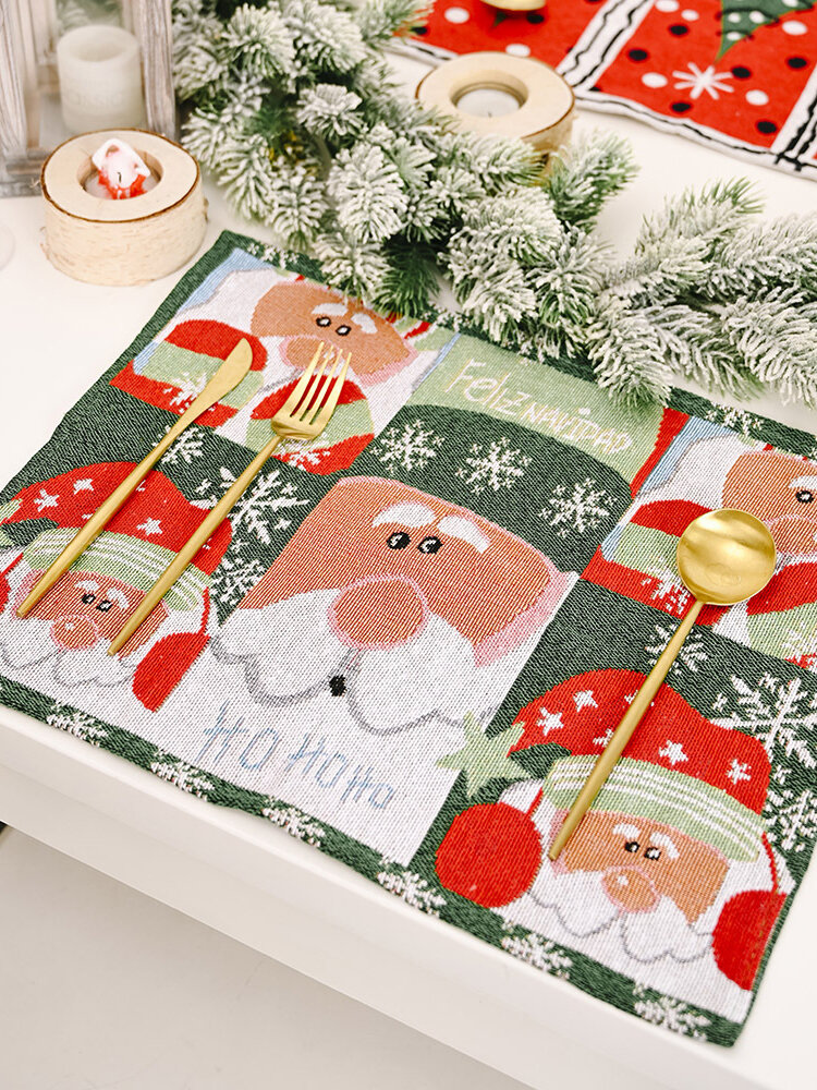 1Pc Christmas Decorations Knitted Fabric Placemat Creative Knitted Placemat Tablecloth Old Man Small Tree Placemat