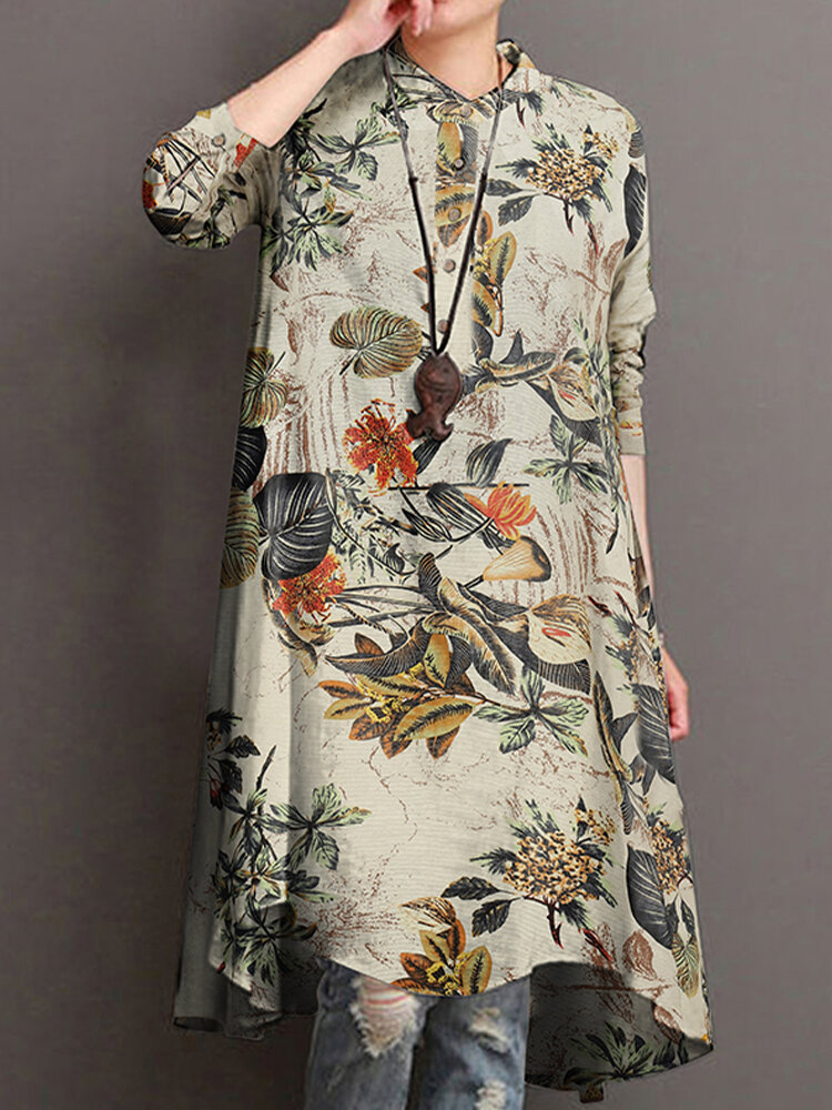 Casual Floral Print Stand Collar Long Sleeve Cotton Blouse