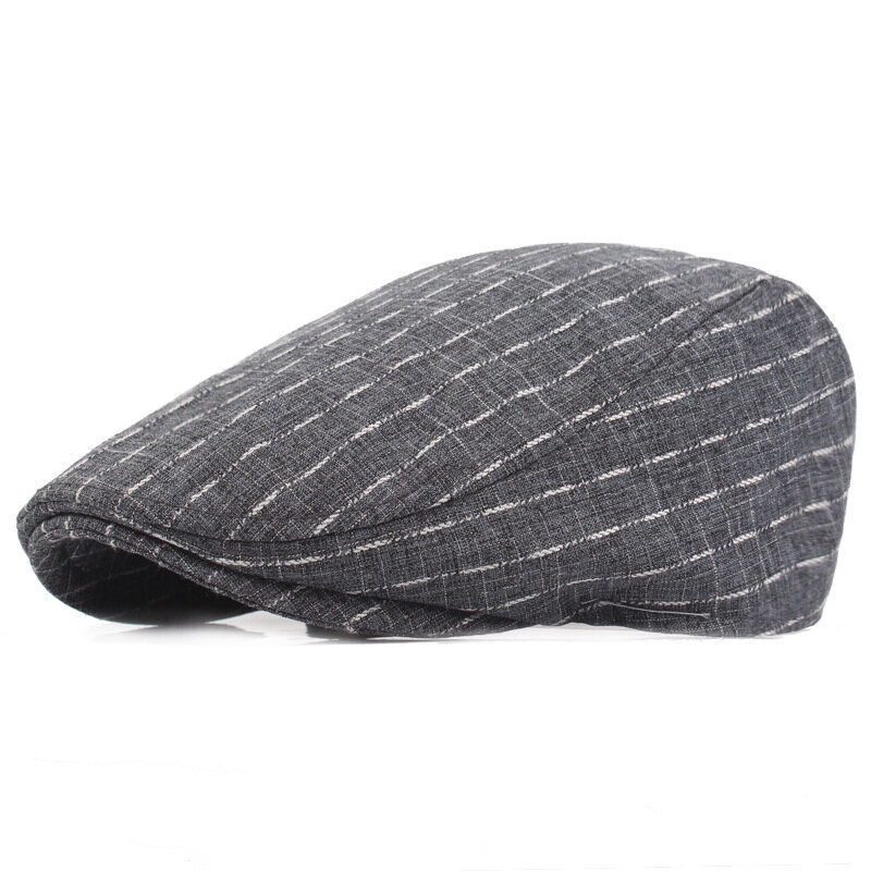 Men Cotton Stripe Plaid Grid Beret Hat Buckle Adjustable Golf Driving Flat Cabbie Newsboy Beret Cap