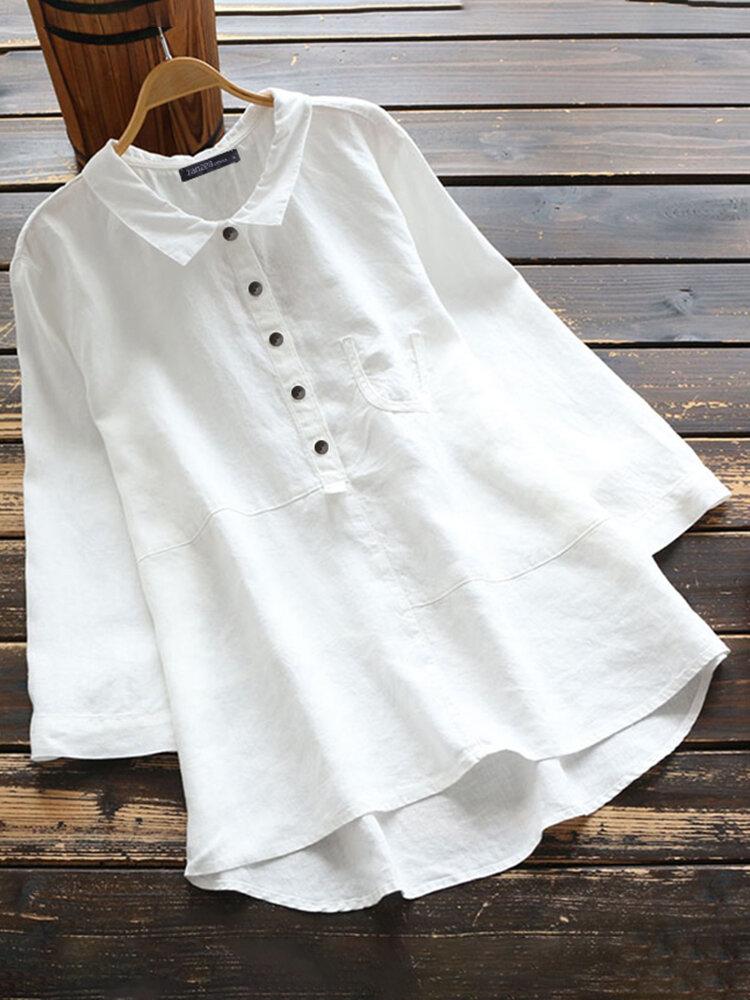 Lässige einfarbige Hemd Revers Kragen Langarm Baumwolle Bluse