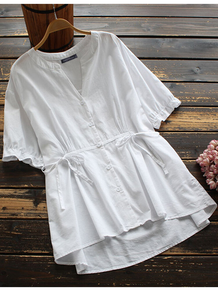 Solid V-neck Short Sleeve Knotted Button Women Blouse