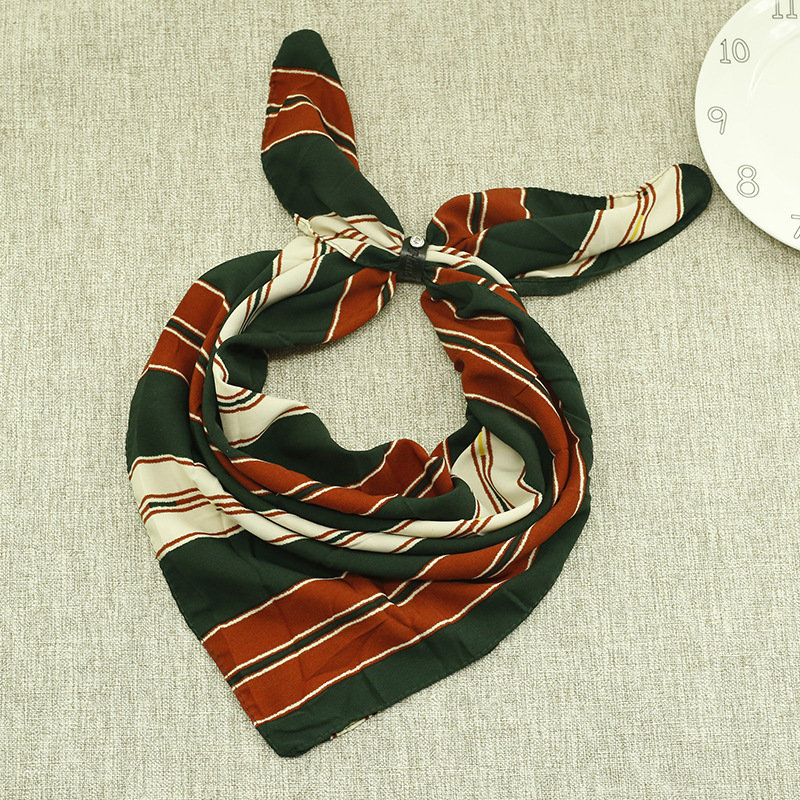Women Fashion Accessories Printing Stripe Chiffon Square Scarves Small Kerchief Scarf