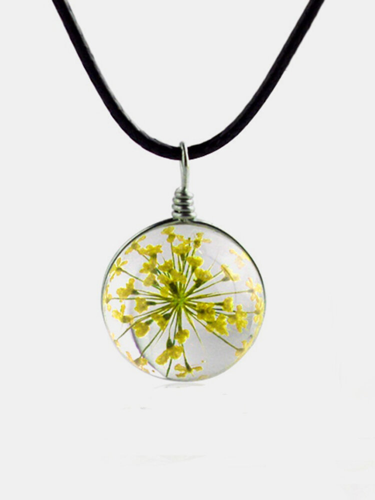 Vintage Pendant Necklace Oblateness Round Glass Dry Flower Babysbreath Charm Necklace