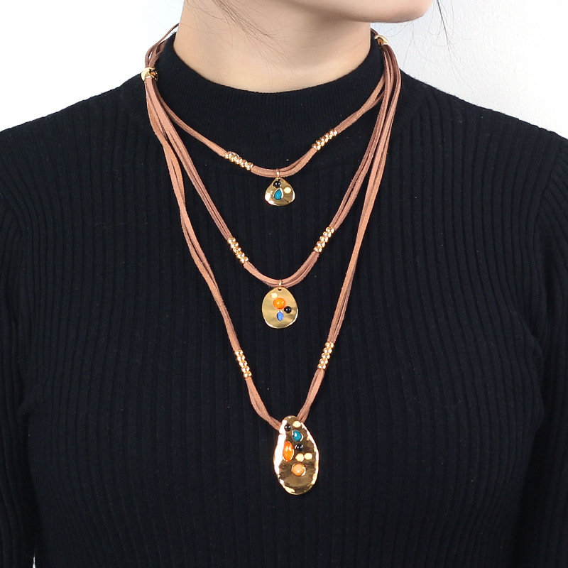Bohemian Multi-layer Geometric Pendant Necklaces Irregular Slice Braided Rope Necklace for Women