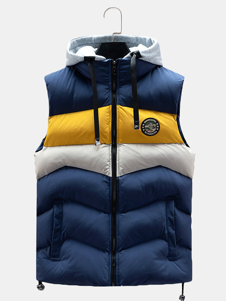 Mens Patchwork Reversible Wearable Casual Thicken Down Hooded Vest