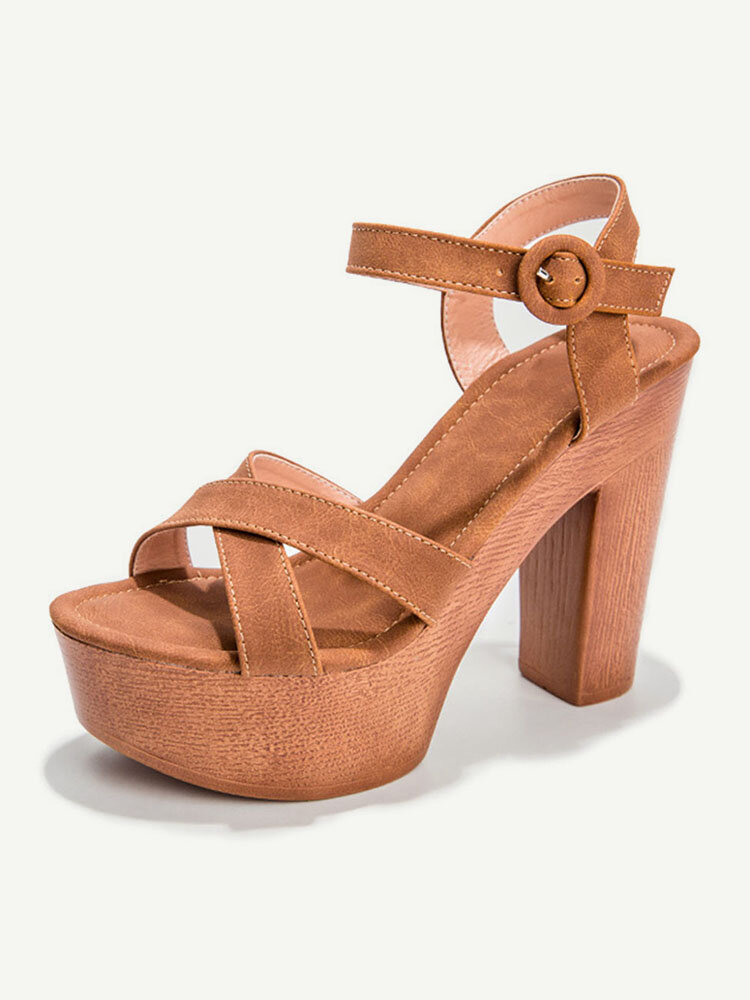Women Solid Color Suede Cross Strap Fashion Platforms Chunky Heels Sandals