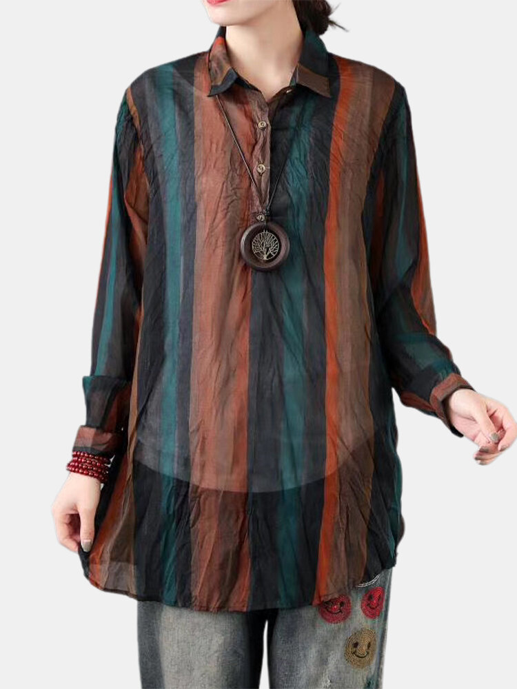 Striped Print Long Sleeves Wrinkle Casual Lapel Blouse For Women