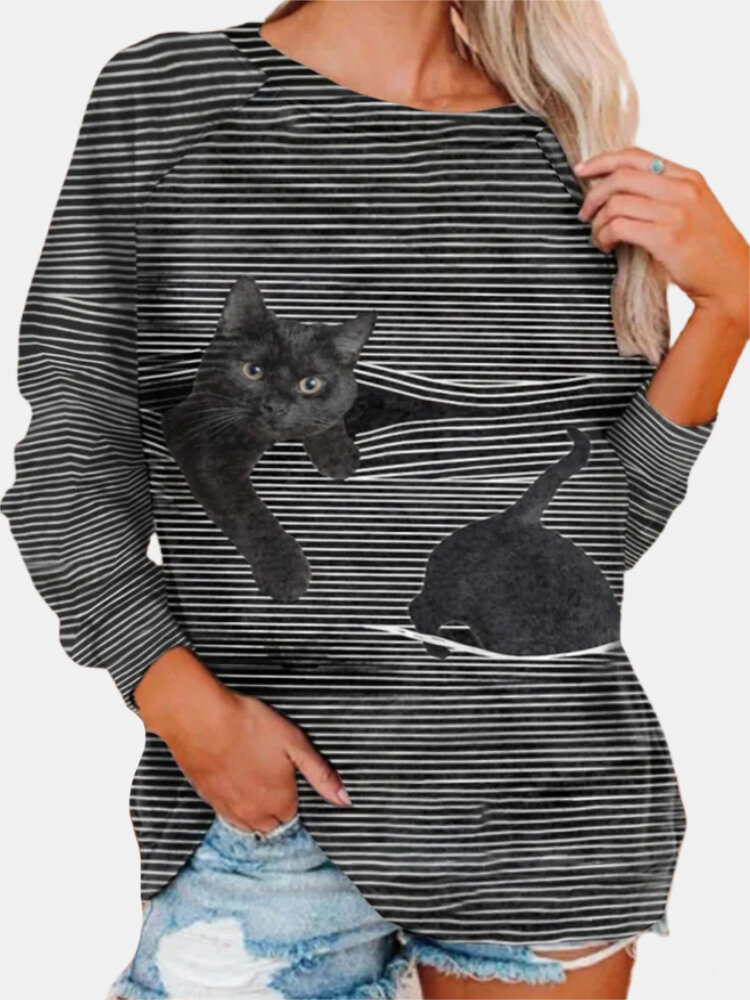 Cat Print Striped O-neck Long Sleeve Plus Size T-shirt for Women