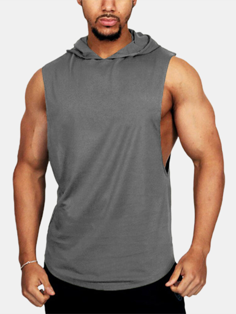 Mens Indoor & Outdoor Fitness Muscle Hooded Workout Tank Top