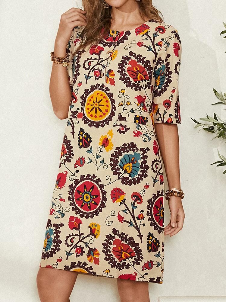 Этнический принт O-образным вырезом на пуговицах с длинным рукавом Повседневное Богемия Платье для Женское