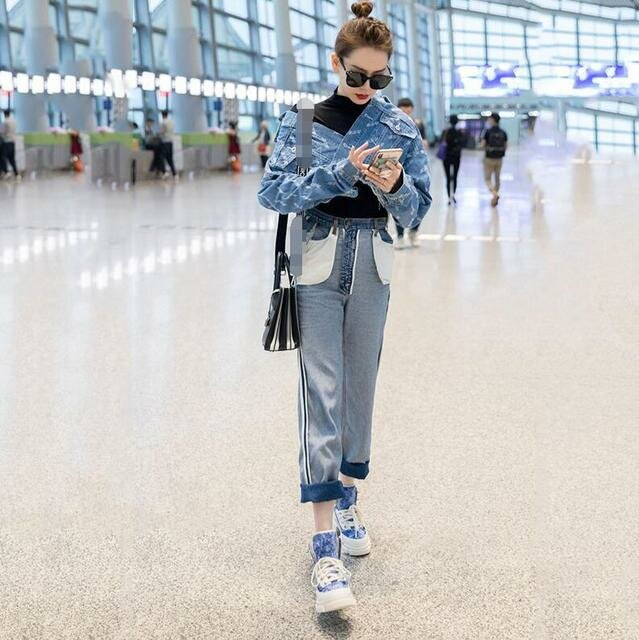 Rose Star With The Same Paragraph Short Coat High Waist Anti-wear Straight Curling Nine Points Jeans Fashion Personality Suit Female