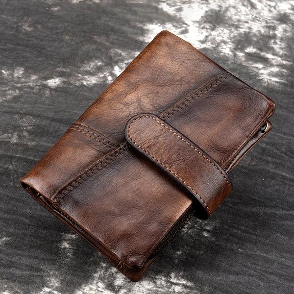 RFID s en cuir véritable 10 fente pour carte portefeuille pinceau porte-monnaie - Blioesy - Modalova