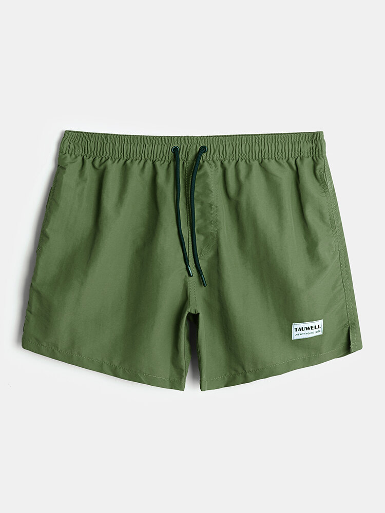 Mens Solid Color Quick Dry Holiday Swim Trunk With Lined