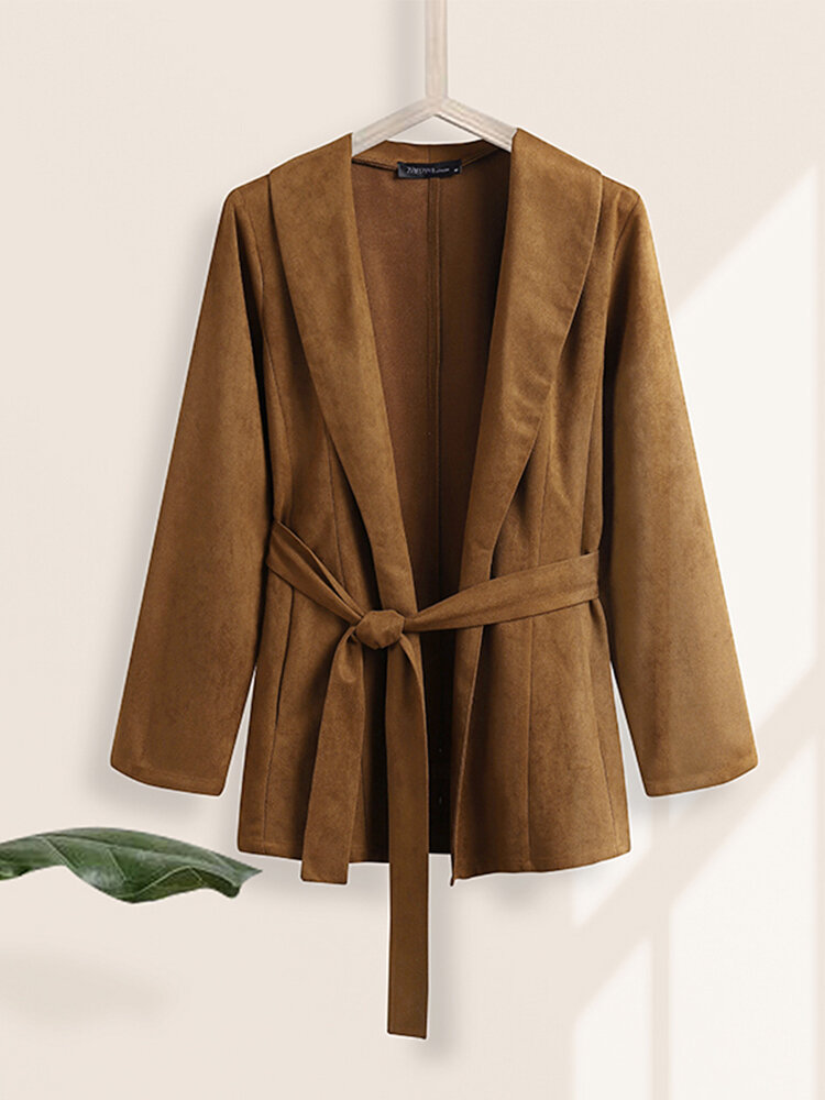 Women Solid Color Knotted Pocket Lapel Collar Long Sleeve Coat