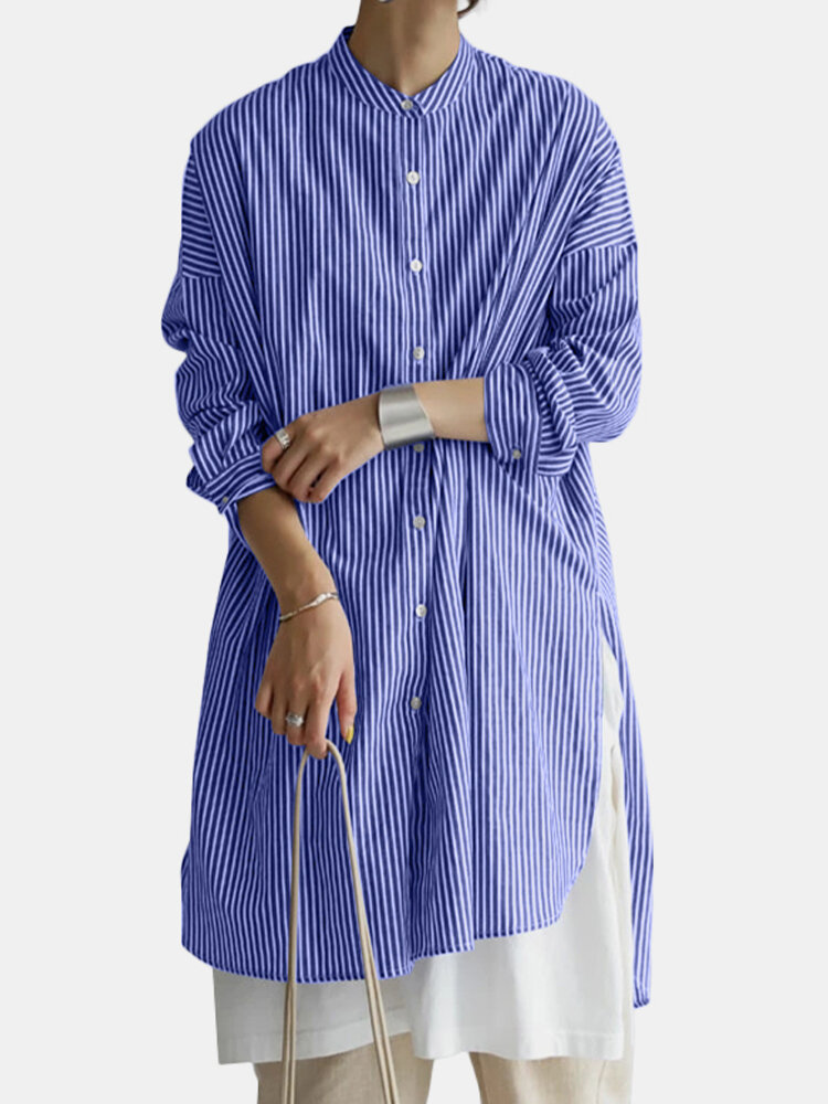 Striped Button Long Sleeve Loose Casual Blouse For Women