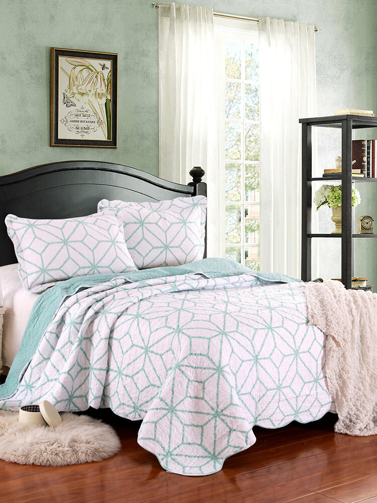 3Pcs Home Textiles Bedding Air Conditioning Summer Cool Quilt Bed Cover Washed Cotton Printed Quilt
