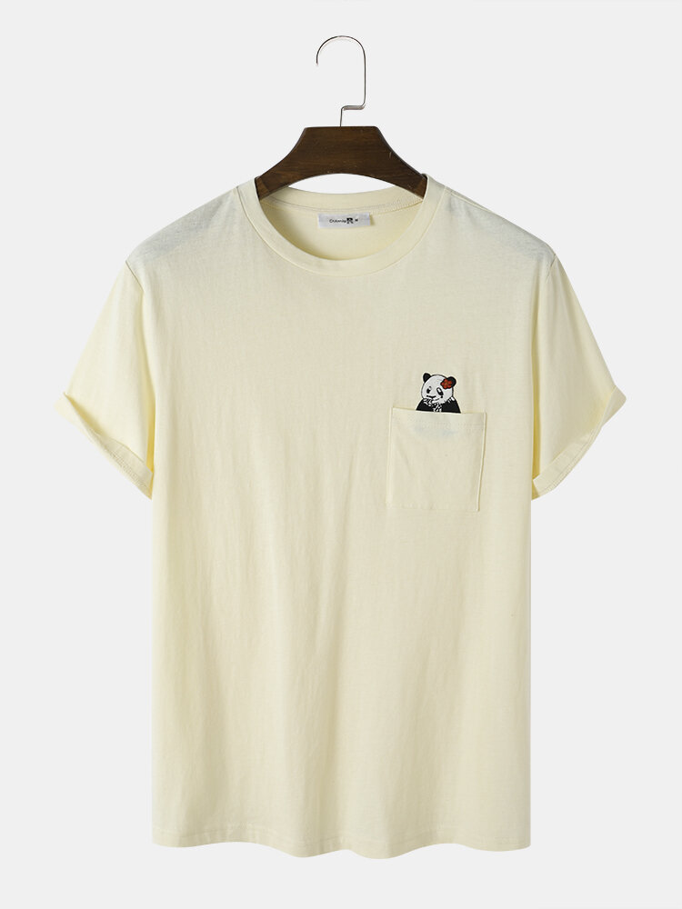 Mens Embroidered Bear Chest Pocket 100% Cotton Cute Short Sleeve T-Shirts