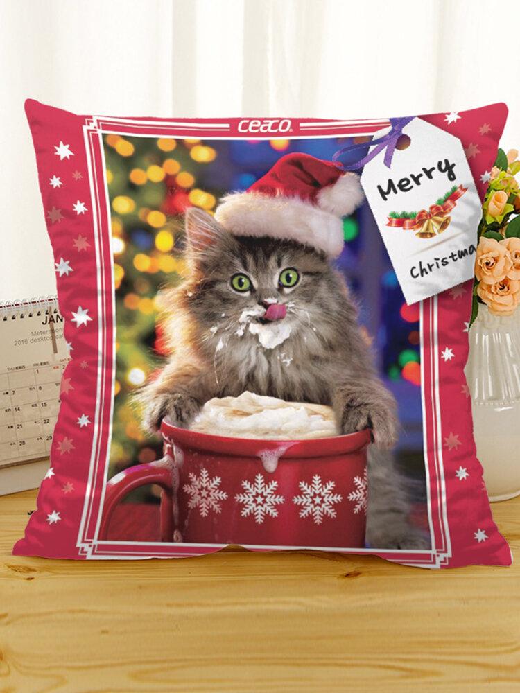 Retro Christmas Cat Cotton Linen Cushion Cover Home Sofa Soft Pillowcases Retro Style Art Decor