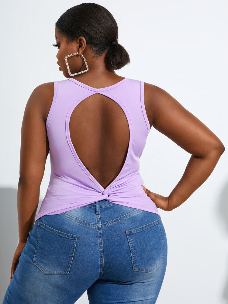 Solid Backless Sleeveless Plus Size Casual Tank Top