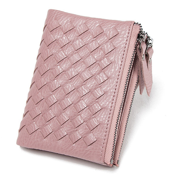 Short Stylish Weave Zipper Short Wallet Card Holder Coins Bag Purse