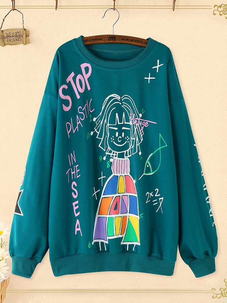Cartoon Letter Graffiti Print Crew Neck  Plus Size Pullover Cotton Sweatshirt