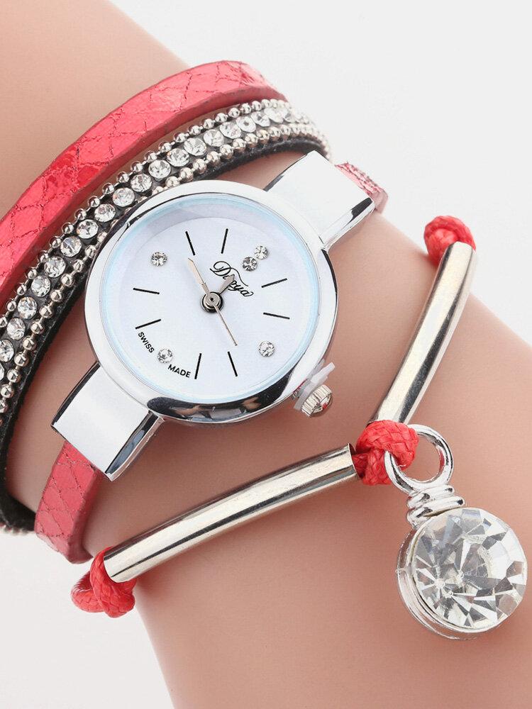 Crystal Pendant Women Bracelet Watch Retro Style Leather Strap Quartz Watch