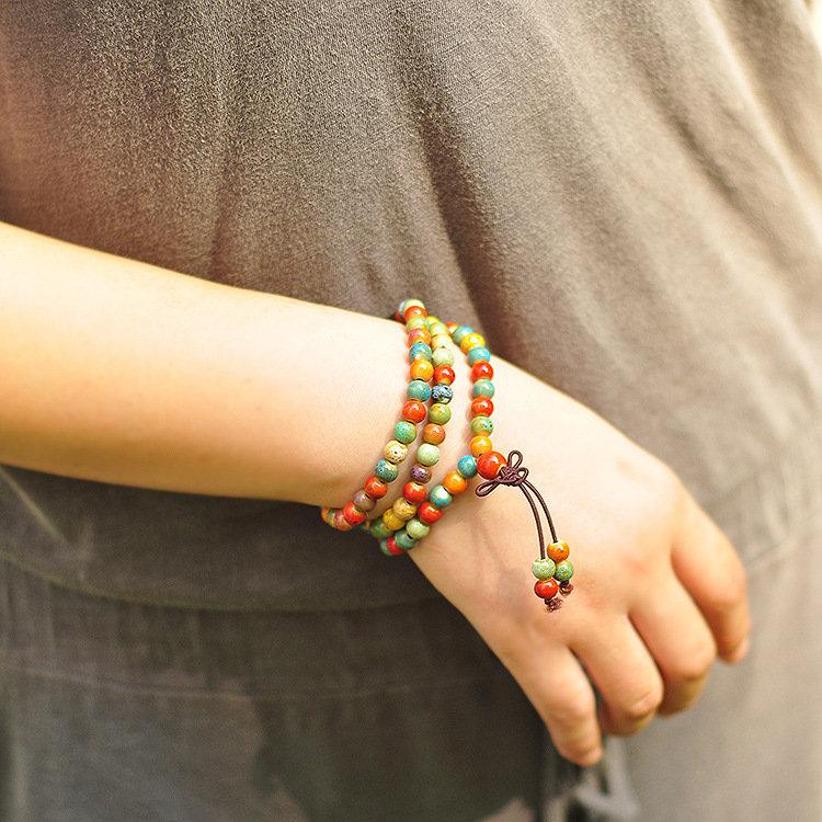 108pcs Tibetan Buddhist Ceramic Beaded Bracelet Bohemian Multilayer Bracelet for Women for Men