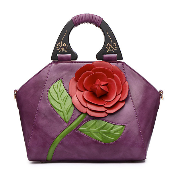Brenice Women National Style Recorative Roses Wooden Handle PU Leather Handbag