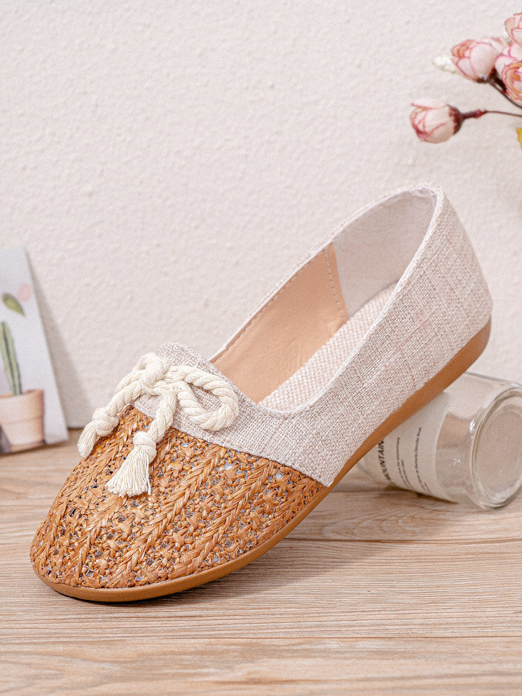 Women Straw Plaited Shoes Hollow Out Knotted Flats