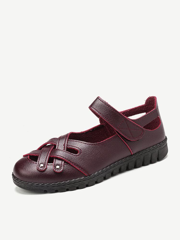 Women Cross Hollow Soft Sole Hook Loop Casual Flat Loafers