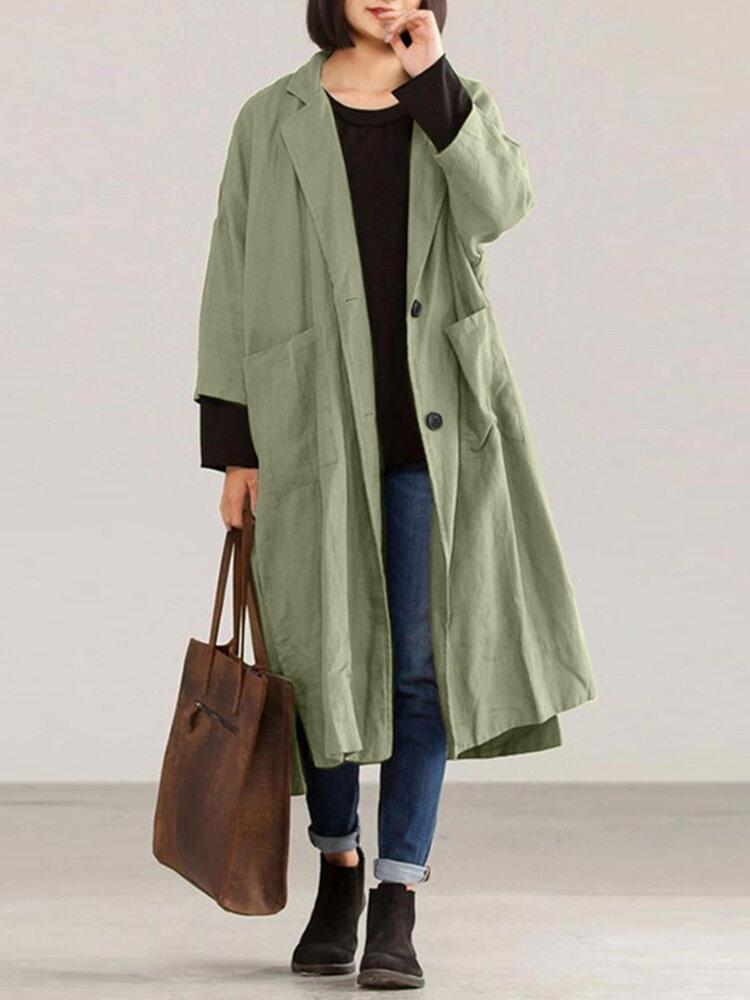 女性のための無地の長袖ラペル襟コート