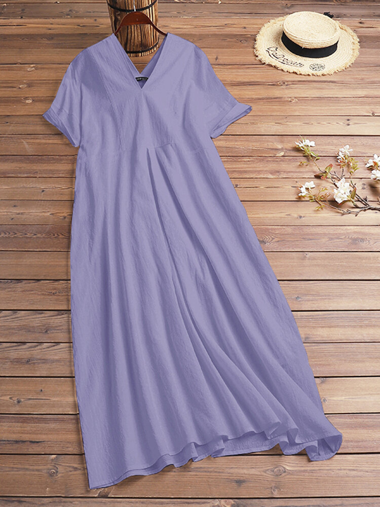Casual Solid Color V-neck Short Sleeve Plus Size Maxi Dress