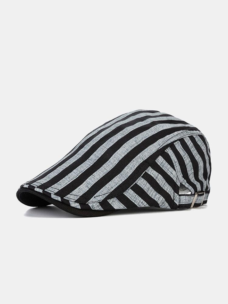 Men Cotton Linen Contrast Color Striped Pattern Retro Forward Hat Beret