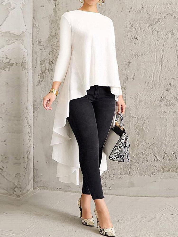 Solid Color Asymmetrical High Low Blouse