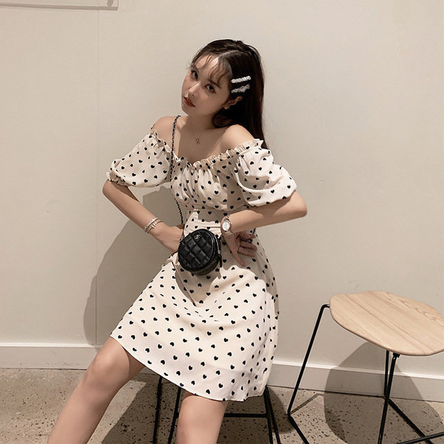 Shanshan's New Cute And Charming Day Sweet Bubble Sleeves Off-shoulder Short-sleeved Dress